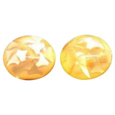 Vintage Yellow Orange Confetti Lucite Earrings