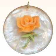 Vintage Orange Rose Flower Filled Lucite Pendant