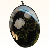 Vintage Oval Shaped Clear & Black Lucite Rose Pendant Necklace