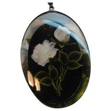 Vintage Oval Shaped Clear & Black Lucite Rose Pendant Necklace