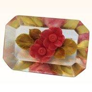 Vintage Lucite Pink Flower Filled Rectangular Shaped Brooch