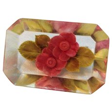 Vintage Lucite Pink Flower Filled Rectangular Shaped Brooch