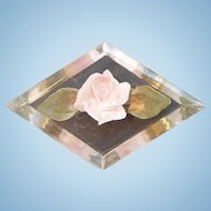 Vintage Diamond Shaped Flower Flled Lucite Brooch