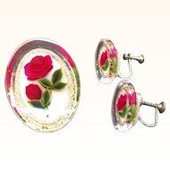 Vintage Lucite Embedded Roses Brooch & Screw On Earring Set