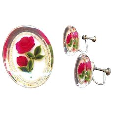 Vintage Reverse Carved Lucite Roses Brooch & Screw On Earring Set