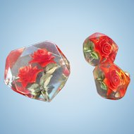 Vintage Lucite Filled with Roses Brooch & Screw on Earring Set