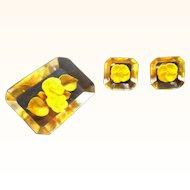 Vintage Reversed Carved Lucite Yellow Flowers Brooch & Screw On Earring Set