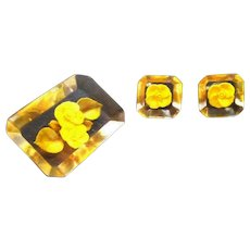 Vintage Reversed Carved Lucite Yellow Flowers Brooch & Screw On Earring Set