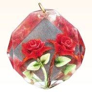 Retro Reverse Carved Lucite Red Roses Pendant