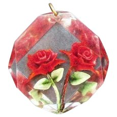 Retro Reverse Carved Lucite Red Roses Pendant