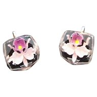 Retro Reverse Carved Lucite Lavender Orchid Screw on Earrings