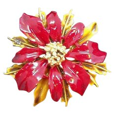 Vintage Red Enameled Rhinestone Poinsettia Pin Signed Art