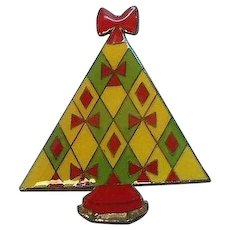 Vintage Laminated Plastic Christmas Tree Pin with Bows