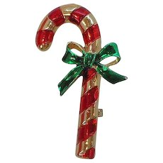Vintage Gerrys Shiny Christmas Candy Cane Brooch