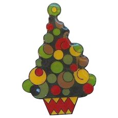Vintage Colorful Laminated Plastic Christmas Tree Pin