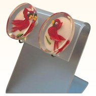 Retro Clear Lucite Oval Shaped Red Cardinal Birds Clip on Earrings