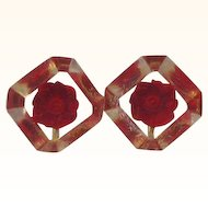 Retro  Square Shaped Lucite Red Flowers Screw On Earrings