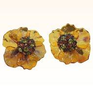 Vintage Vendome Rhinestone Cellulose Acetate Flower Earrings