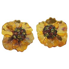 Vintage Vendome Rhinestone Cellulose Acetate Flower Earrings