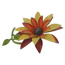 Vintage Large Layered Dimensional Enameled Flower Brooch