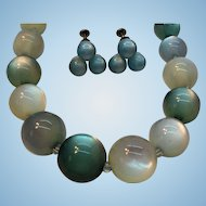 Vintage Blue Moonglow Beaded Necklace & Screw On Earring Set