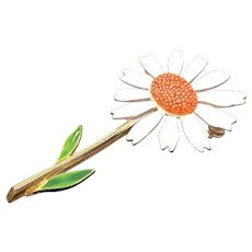 Vintage Orange & White Enameled Sunflower Flower Brooch Signed Art