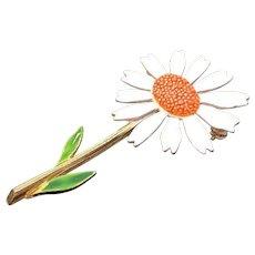 Vintage Orange & White Enameled Sunflower Flower Brooch Signed Art