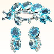 Vintage Blue Glass Unfoiled Stones Brooch & Clip On Earring Set
