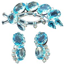 Vintage Blue Glass Unfoiled Stones Brooch & Clip On Earring Set