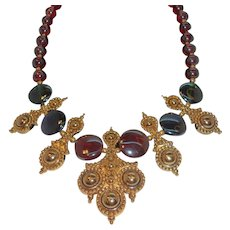 Vintage Barrera for Avon Goldtone Glass Beaded Bib Statement Necklace