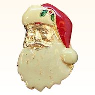 Vintage Enameled Santa Claus Wearing Hat  Pin