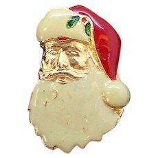 Vintage Enameled Santa Claus Wearing Hat  Pin