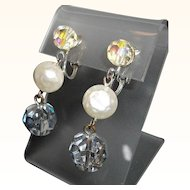 Vintage Imitation Pearl Faceted Crystal Beaded Dangle Clip on Earrings