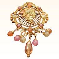 Vintage Goldtone Metal Cameo Style Dangle Beaded Brooch