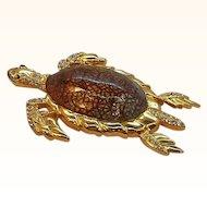 Vintage Large Enameled Rhinestone Sea Turtle Brooch