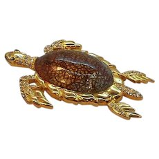 Vintage Large Enameled Rhinestone Sea Turtle Brooch