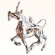 Vintage Gerrys Silvertone Metal Unicorn Pin