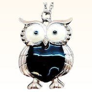 Vintage Silvertone Metal Black Owl Pendant Necklace