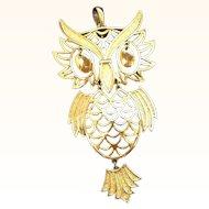 Retro Goldtone Metal  Large Dangle Articulated Owl Pendant