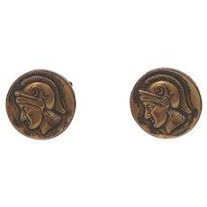 Vintage Dark Goldtone Metal Roman Soldier Cufflinks