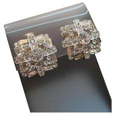 Vintage Nolan Miller Clear Rhinestone Silvertone Metal Clip on Earrings