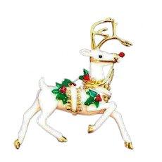 Vintage Large Enameled White Reindeer Brooch