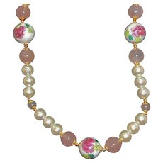 Vintage Glass Genuine Rose Quartz Imitation Pearls Beaded Necklace