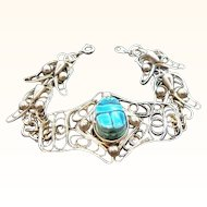 Vintage Silvertone Metal Bracelet Blue Scarab Shaped Bead Accent