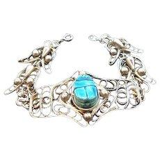 Vintage Silvertone Metal Bracelet Blue Scarab Shaped Bead Accent