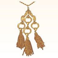 Vintage J.J. Textured Goldtone Metal Dangle Tassel Pendant Necklace