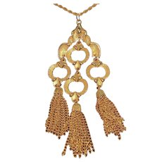 Vintage J.J. Textured Goldtone Metal Dangle Tassel Pendant Necklace
