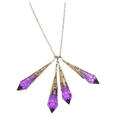 Vintage Faceted Purple Lucite Dangle Drops Necklace
