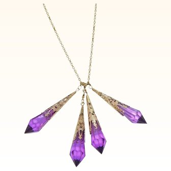 Vintage Faceted Purple Lucite Dangle Drops Necklace