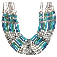 Vintage Eight Strand Blue Green Beaded Silvertone Metal Statement Necklace